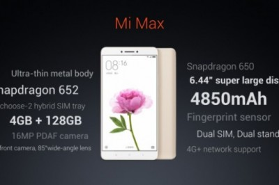 Xiaomi Mi Max officially unveiled: 4850mAh battery, 128GB memory